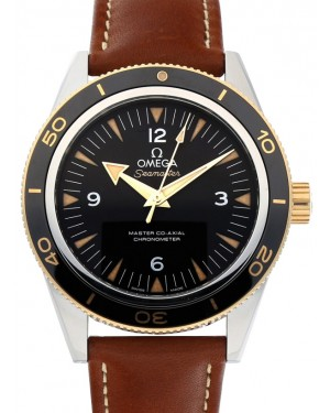 Omega 233.22.41.21.01.001 Seamaster 300 Master Co-Axial 41mm Black Arabic Index Stainless Steel Leather BRAND NEW