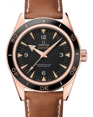 Omega 233.62.41.21.01.002 Seamaster 300 Master Co-Axial 41mm Black Arabic Index Rose Gold Leather BRAND NEW