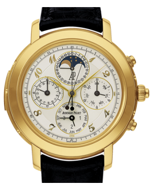 Audemars Piguet Jules Audemars Grande Complication Yellow Gold Silver Arabic Dial & Fixed Bezel Leather Bracelet 25866BA.OO.D002CR.02 - BRAND NEW