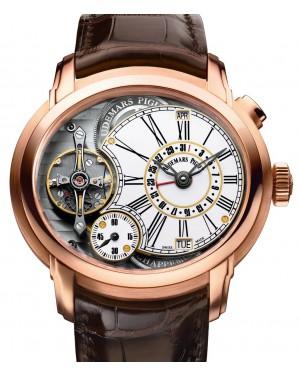 Audemars Piguet 26149OR.OO.D803CR.01 Millenary Quadriennium 47mm White Enamel Roman Rose Gold Leather BRAND NEW