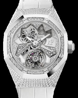 Audemars Piguet Royal Oak Concept Flying Tourbillon 26227BC.ZZ.D011CR.01 Skeleton Diamond Paved Diamond Set White Gold Leather 38.5mm - BRAND NEW