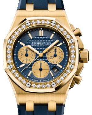 Audemars Piguet Royal Oak Offshore Chronograph 26231BA.ZZ.D027CA.01 Blue Index Diamond Yellow Gold Rubber 37mm