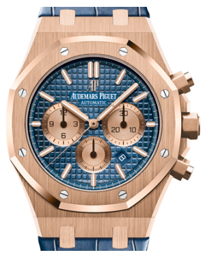 Audemars Piguet Royal Oak Chronograph 26331OR.OO.D315CR.01 Blue Index Rose Gold Blue Leather 41mm - BRAND NEW