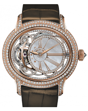 Audemars Piguet 26354OR.ZZ.D812CR.01 Millenary Tourbillon 45mm White Mother of Pearl Diamond Paved Rose Gold Leather BRAND NEW