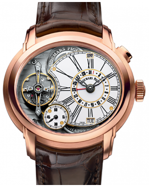 Audemars Piguet 26371OR.OO.D803CR.01 Millenary Millenary Minute Repeater 47mm White Enamel Roman Rose Gold Leather BRAND NEW