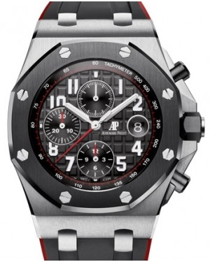 """Audemars Piguet Royal Oak Offshore """"Vampire"""" Chronograph Steel 42mm Black Red Dial Ceramic Bezel Rubber Strap 26470SO.OO.A002CA.01 - PRE-OWNED"""