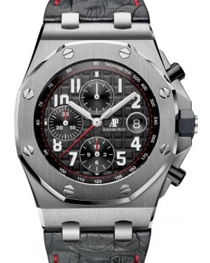 Audemars Piguet 26470ST.OO.A101CR.01 Royal Oak Offshore Chronograph 42mm Black Arabic Stainless Steel Leather Automatic PRE-OWNED