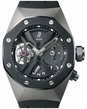 Audemars Piguet 26560IO.OO.D002CA.01 Royal Oak Concept GMT Tourbillon 44mm Openworked Black Ceramic Titanium Rubber BRAND NEW