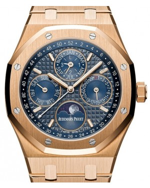 7ee77a4dec4c Audemars Piguet Royal Oak Perpetual Calendar 26574OR.OO.1220OR.02 Blue  Index Rose ...