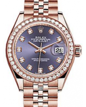 Rolex Datejust 28 279135 Aubergine Diamond Markers & Bezel Rose Gold Jubilee - BRAND NEW