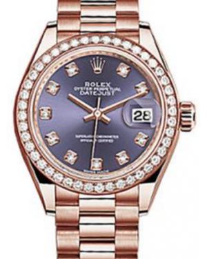 Rolex Datejust 28 279135 Aubergine Diamond Markers & Bezel Rose Gold President - BRAND NEW