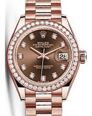 Rolex Datejust 28 279135 Chocolate Diamond Markers & Bezel Rose Gold President - BRAND NEW