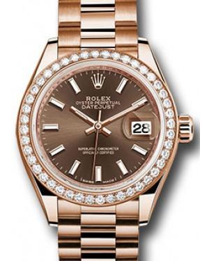 Rolex Datejust 28 279135 Chocolate Index Diamond Bezel Rose Gold President - BRAND NEW