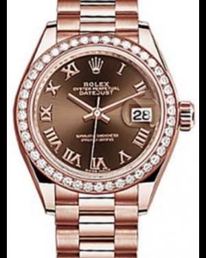 Rolex Datejust 28 279135 Chocolate Roman Diamond Bezel Rose Gold President - BRAND NEW
