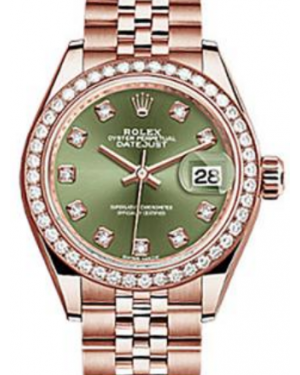 Rolex Datejust 28 279135 Olive Green Diamond Markers & Bezel Rose Gold Jubilee - BRAND NEW