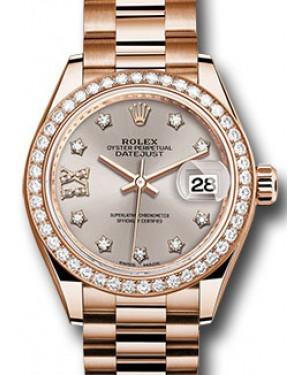Rolex Datejust 28 279135 Sundust Diamond Roman 9 o' Clock Diamond Bezel Rose Gold President - BRAND NEW