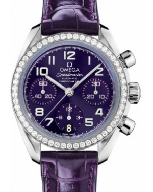 Omega 324.18.38.40.10.001 Speedmaster Chronograph 38mm Purple Arabic Diamond Bezel Stainless Steel Leather BRAND NEW