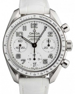 Omega 324.33.38.40.04.001 Speedmaster Chronograph 38mm White Arabic Stainless Steel Leather BRAND NEW