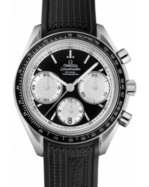Omega 326.32.40.50.01.002 Speedmaster Racing Co-Axial Chronograph 40mm Black White Index Stainless Steel Rubber BRAND NEW