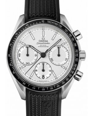 Omega 326.32.40.50.02.001 Speedmaster Racing Co-Axial Chronograph 40mm White Index Stainless Steel Rubber BRAND NEW