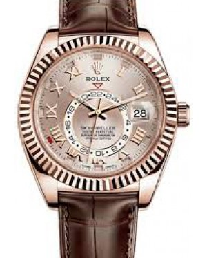 Rolex Sky-Dweller 18k Everose Rose Gold Sundust Roman 42mm Dial Leather Strap 326135 - PRE-OWNED