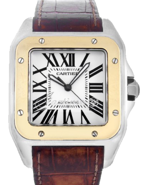 Cartier Santos 100 Yellow Gold/Steel Silver Opaline Roman Dial & Leather Strap W20072X7 - BRAND NEW