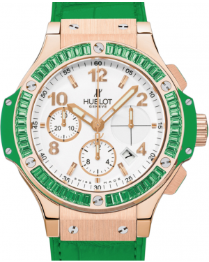 Hublot Tutti Frutti 341.PG.2010.LR.1922 White Arabic Tsavorite Bezel Rose Gold & Green Leather 41mm BRAND NEW