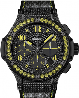 Hublot Big Bang Black Fluo 341.SV.9090.PR.0911 Black Diamond Paved Dial & Case Yellow Sapphire Bezel & PVD Stainless Steel Leather 41mm BRAND NEW