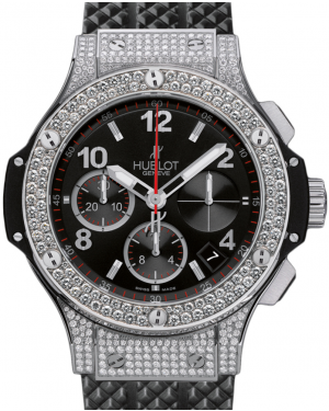 Hublot Big Bang 342.SX.130.RX.174 Black Arabic Diamond Set Stainless Steel Case Rubber 41mm BRAND NEW