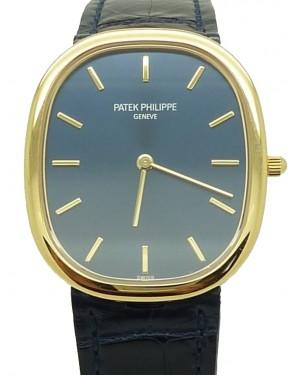Patek Philippe 3738/100J-012 Golden Ellipse 31.1 x 35.6mm Blue Index Yellow Gold Leather Manual BRAND NEW