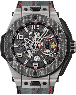 Hublot Big Bang Unico Ferrari 401.NJ.0123.VR Skeleton Arabic Carbon Fiber Titanium Bezel & Titanium Case Leather 45mm BRAND NEW