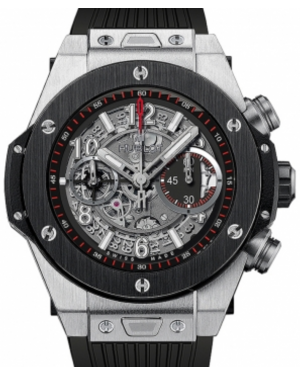 Hublot Big Bang Unico Skeleton Arabic Black Dial Ceramic Bezel Titanium Case Rubber Strap 45mm 411.NM.1170.RX - BRAND NEW