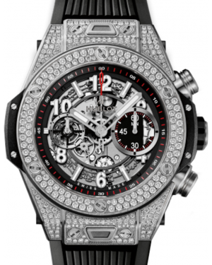 Hublot Big Bang Unico 411.NX.1170.RX.1704 Skeleton Arabic Diamond Set Case Titanium & Rubber 45mm BRAND NEW