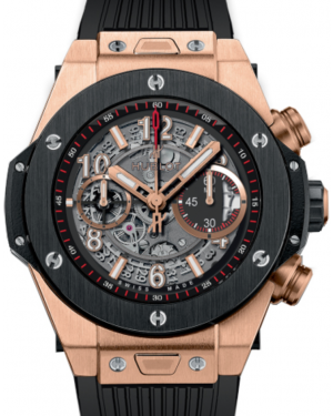 Hublot Big Bang Unico 411.OM.1180.RX Skeleton Arabic Black Ceramic Bezel & Rose Gold Case Rubber 45mm BRAND NEW