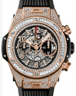 Hublot Big Bang Unico 411.OX.1180.RX.0904 Skeleton Arabic Baguette Diamond Rose Gold Bezel Diamond Set Case & Rubber 45mm BRAND NEW