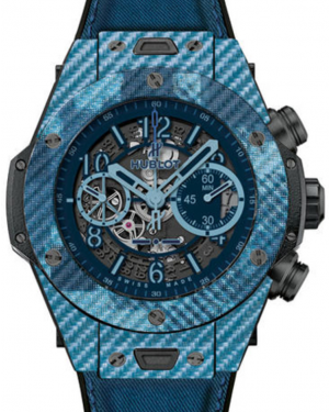 Hublot Big Bang Unico 411.YL.5190.NR.ITI16 Skeleton Arabic Carbon Fiber & Blue Texalium Case Fabric 45mm BRAND NEW