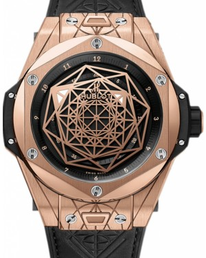 Hublot Big Bang Unico 415.OX.1118.VR.MXM17 Black Dial with Sang Bleu Design Rose Gold Case & Leather 45mm BRAND NEW