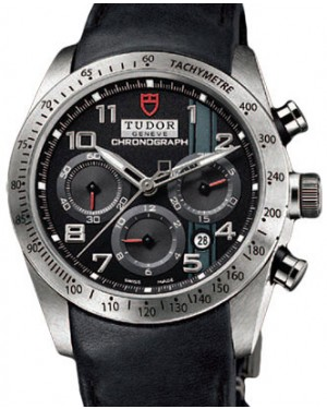 Tudor Fastrider Chronograph 42000 Black Arabic Stainless Steel & Leather 42mm BRAND NEW