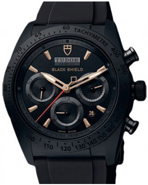 Tudor Fastrider Blackshield 42000CN Black Index Black Ceramic & Rubber Chronograph 42mm BRAND NEW