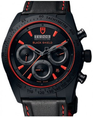 Tudor Fastrider Blackshield 42000CR Black Red Index Black Ceramic & Leather Chronograph 42mm BRAND NEW