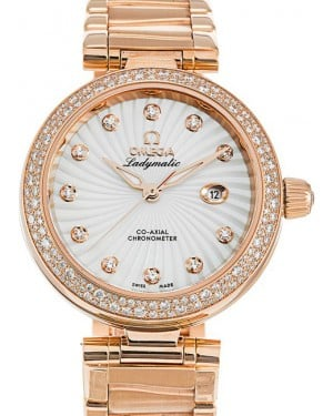 Omega De Ville Ladymatic Co-Axial 425.65.34.20.55.001 34mm White Mother of Pearl Diamond Red Gold - BRAND NEW