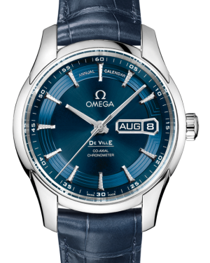 Omega De Ville Hour Vision Co-Axial Annual Calendar 431.33.41.22.03.001 41mm Blue Orbis Stainless Steel Leather - BRAND NEW