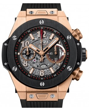 Hublot Big Bang Unico King Gold Ceramic Skeleton 42mm Dial Bezel Rubber Strap 441.OM.1180.RX - BRAND NEW