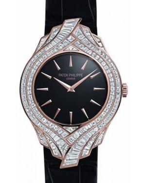 Patek Philippe Calatrava Ladies 4895R 34mm Black Index Rose Gold Diamond Pattern BRAND NEW