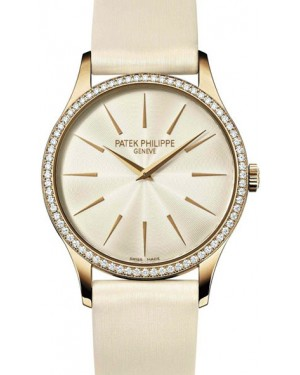 Patek Philippe Calatrava Ladies Rose Gold Diamond 33mm Cream Dial Leather Manual 4897R-010 - BRAND NEW