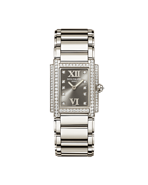 Patek Philippe 4908/200G-001 Twenty~4 Ladies 22 x 26.3mm Grey Roman Diamond Set White Gold Quartz BRAND NEW