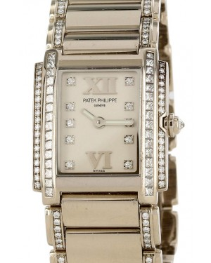 Patek Philippe 4908/200G-011 Twenty~4 Ladies 22 x 26.3mm White Roman Diamond Set White Gold Quartz BRAND NEW