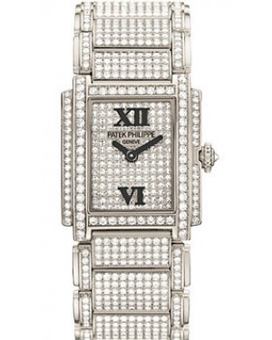 Patek Philippe 4909/50G-001 Twenty~4 Ladies 22 x 26.3mm Diamond Pave Roman White Gold Manual BRAND NEW