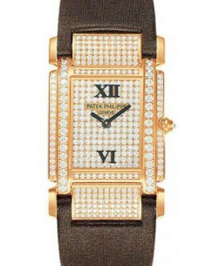 Patek Philippe 4910R-001 Twenty~4 Ladies Medium 30 x 30mm Diamond Pave Roman Rose Gold Diamond Set Quartz BRAND NEW