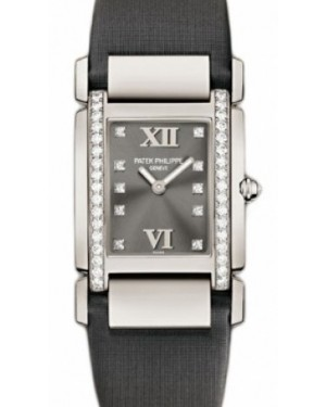 Patek Philippe 4920G-001 Twenty~4 Ladies Medium 32 x 30mm Grey Diamond Roman White Gold Diamond Set Quartz BRAND NEW